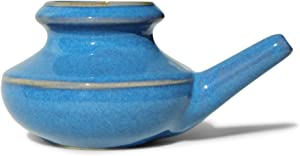 Baraka Premium US Made Handcrafted Durable Ceramic Lead-Free Neti Pot Nose Cleaner for Nasal Congestion and Sinus Relief - Dishwasher Safe - Blue Color