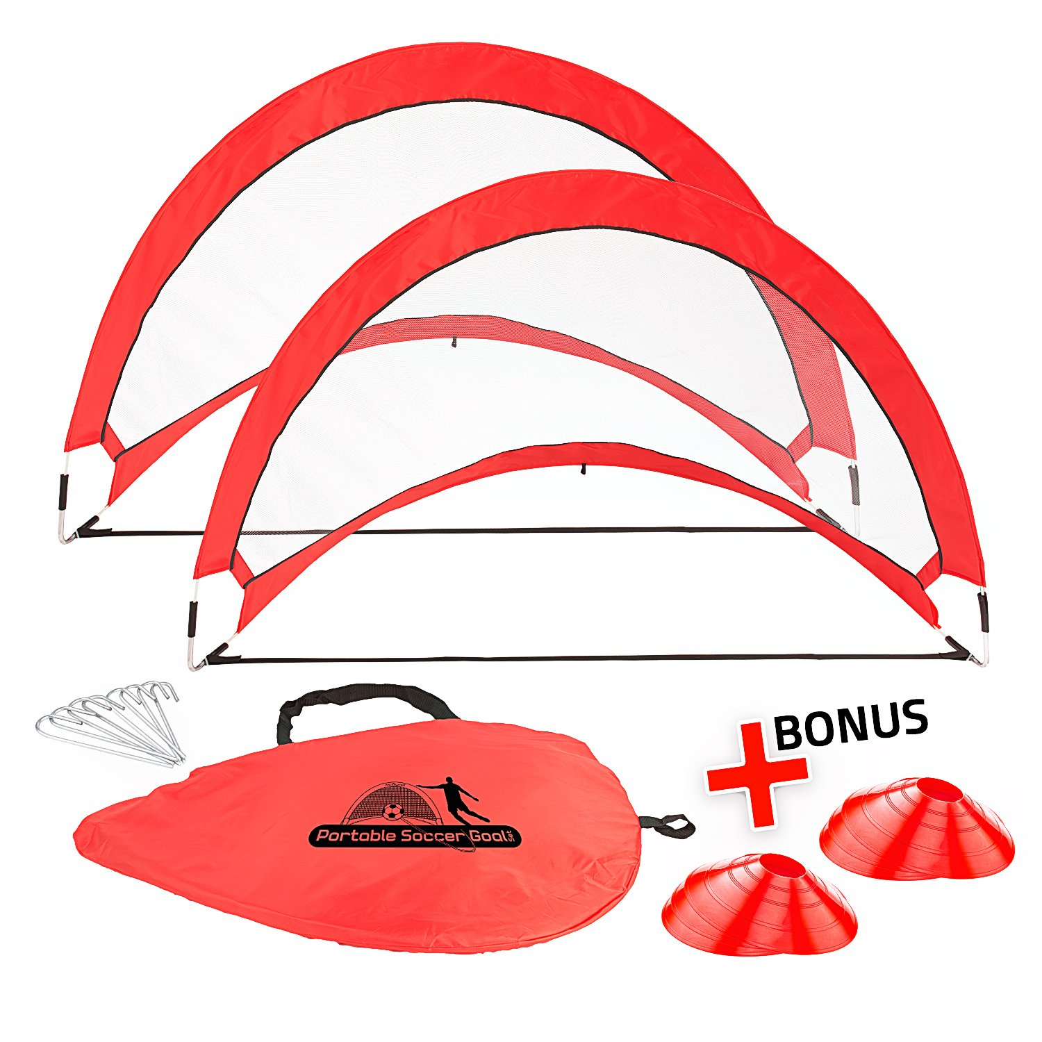 Abco Tech Portable Soccer Goal Set for Training, Practice & Game – Pop-up Soccer Net – 2 Soccer Goals, 6 Disc Cones & 8 Spikes – Carry Bag – Easy to Assemble & Store – Be it Backyard or Public Fields by Abco Tech (Image #9)