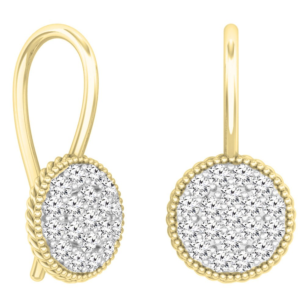 0.65 Carat (ctw) 14K Yellow Gold Round White Diamond Ladies Cluster Style Dangling Drop Earrings by DazzlingRock Collection
