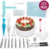 MERRI Cake Decorating Supplies 171 Pcs| Includes All Essential Baking Supplies & Pastry Tools - Rotating Turntable Stand…