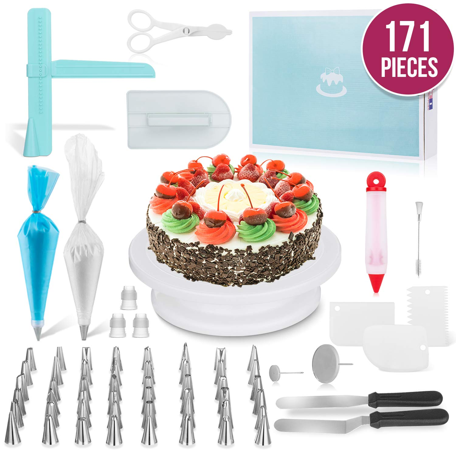 MERRI Cake Decorating Supplies 171 Pcs| Includes All Essential Baking Supplies & Pastry Tools - Rotating Turntable Stand, Frosting, Piping Bags and Tips Set, Icing Spatula, Cake Smoother by MERRI