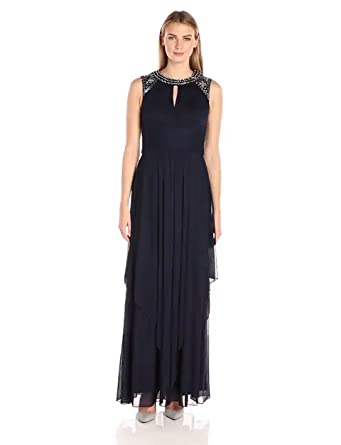 fccc0963c13 Alex Evenings Women s Jewel Neck Long Evening Dress (Petite and Regular  Sizes)
