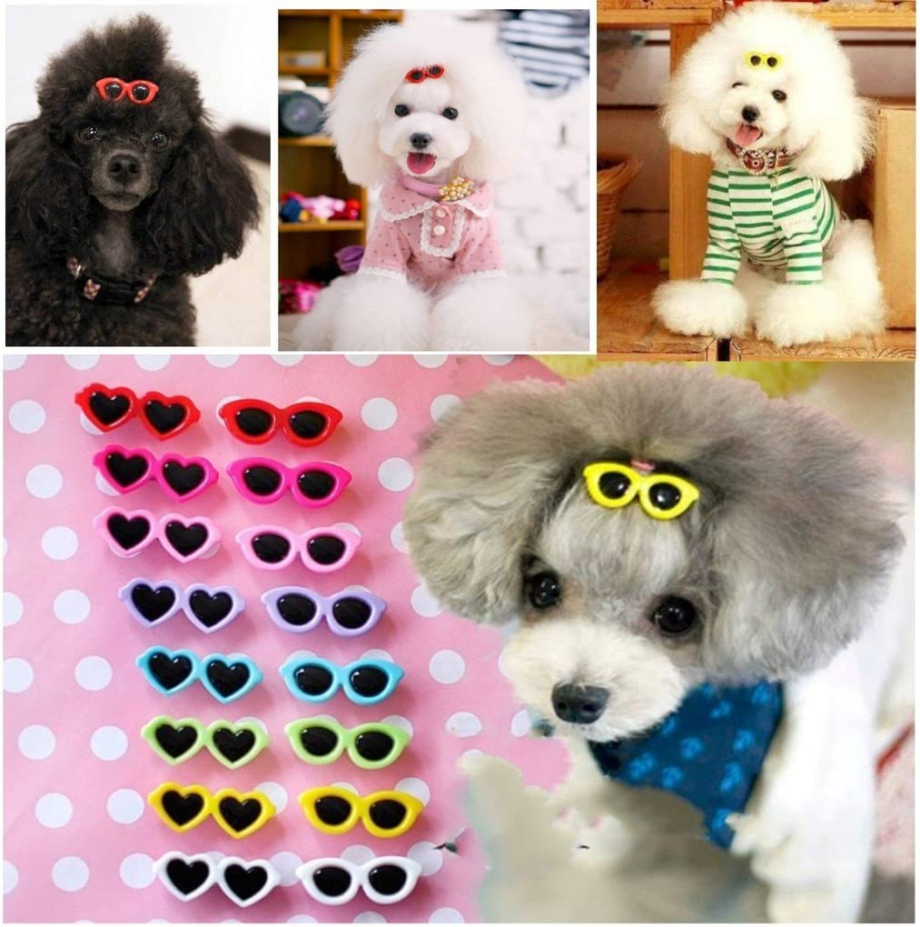 01 Convenient and Practical Interesting PULABO 10Pcs Plastic Pet Cat Dog Small Puppy Sunglasses Shaped Hair Clips Headdress Grooming Hairpin Mixed Color Headdress Hair Decorations