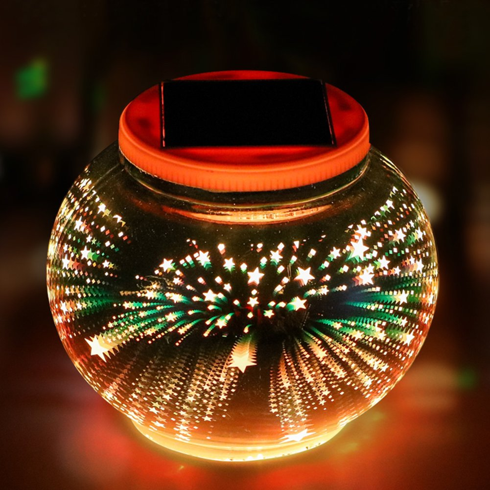 Color Changing Solar Powered Glass Ball Garden Lights, Aukora 3D Star Pattern Solar Table Lights Waterproof Solar Led Night Light Outdoor for Home Patio Garden Decoration, Ideal Gifts