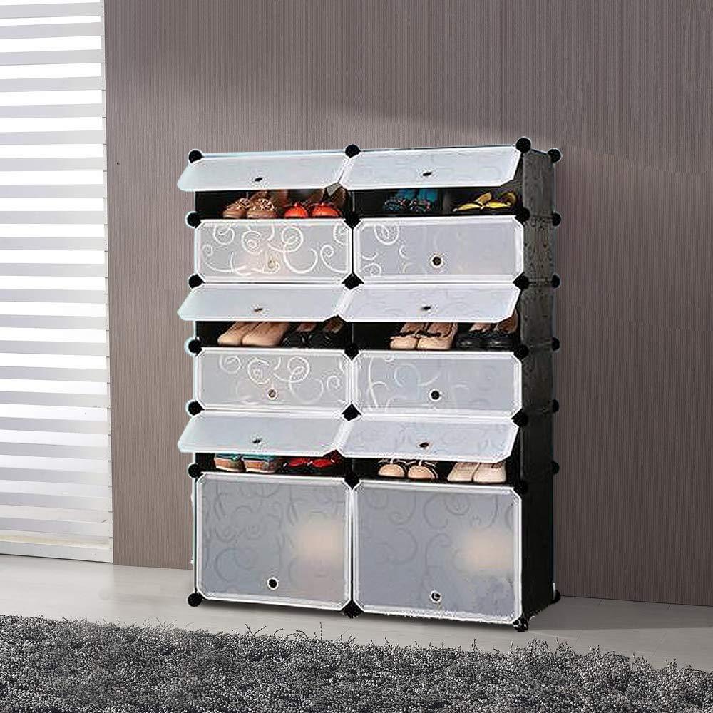NEX Shoe Rack Cube Organizer DIY Plastic Storage Organizer Modular Cabinet Black Closet with White Doors (NX-EAT0127)
