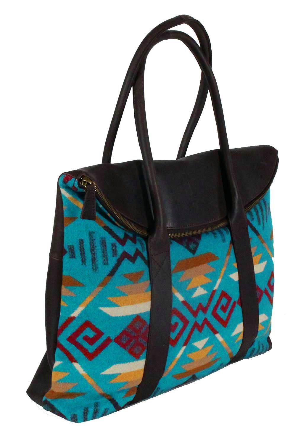 Pendleton Turquoise Coyote Butte Leather Travel Tote
