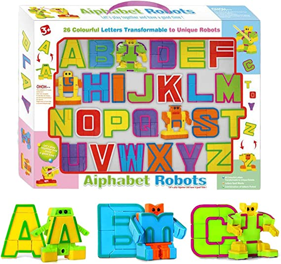 Mallalah - Figuras de Juguete para niños con Letras Robots (26 ...