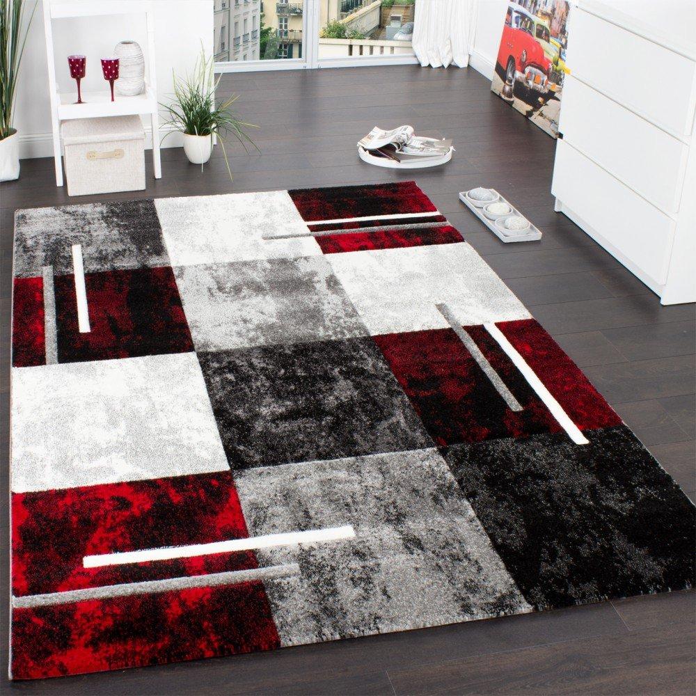 Paco Home Designer Teppich Modern mit Konturenschnitt Karo Muster Grau Schwarz Rot, Grösse 200x290 cm