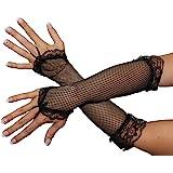 Netzhandschuhe Handschuhe Netz schwarz Lang Fingerling Finger Handschuh Fingerlos