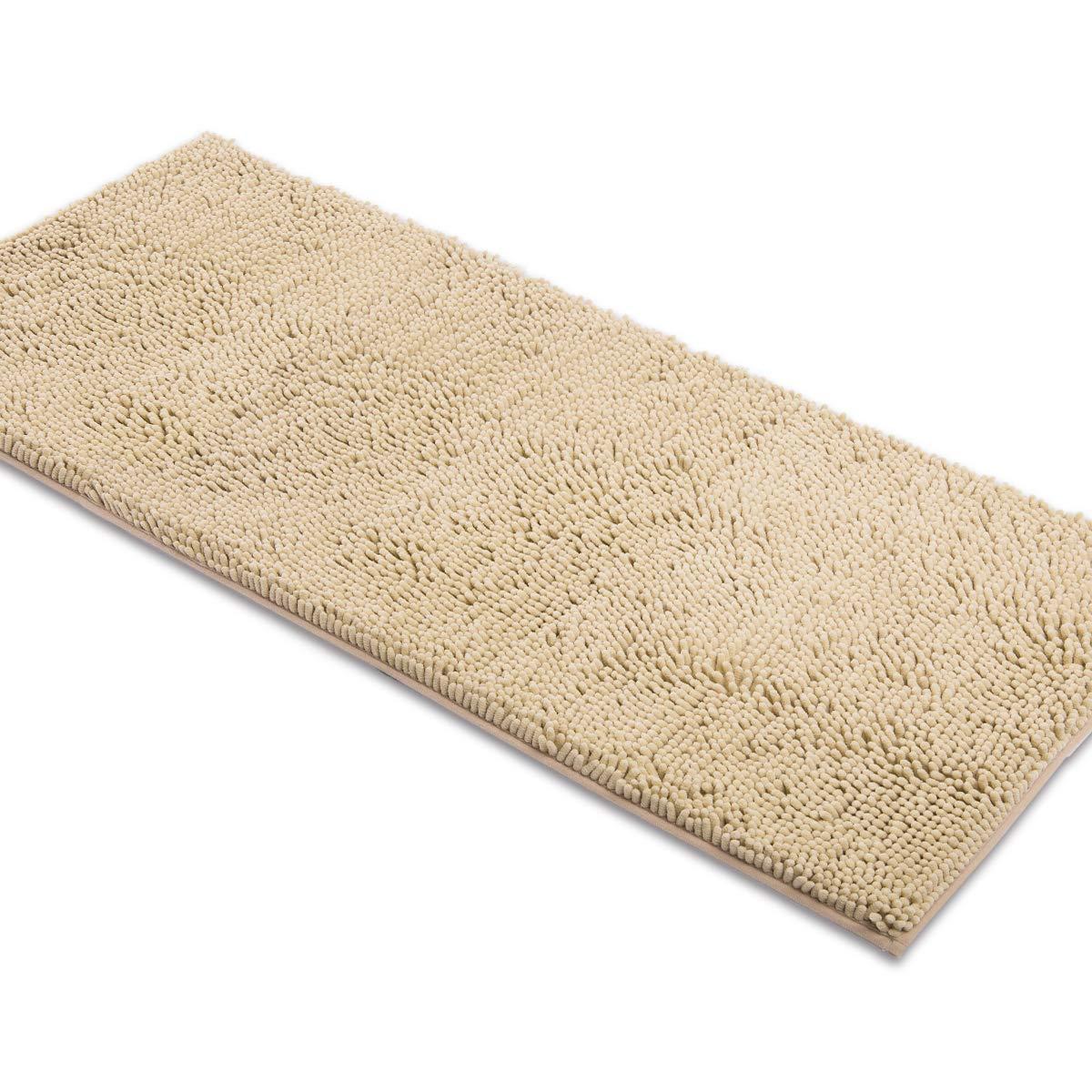MAYSHINE Non-Slip Bathroom Rug Shag Shower Mat Machine-Washable Bath mats (27.5x47 inch) with Water Absorbent Soft Microfibers of - Beige