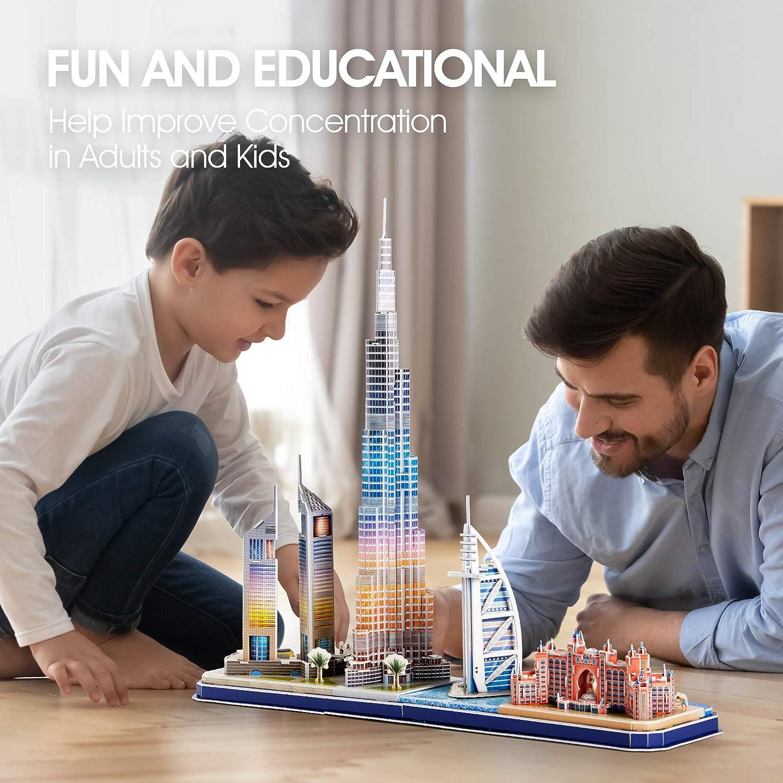 Burj Al Arab Jumeirah Hotel Lighting Architecture Building Birthday Gifts Emirates Towers CubicFun 3D Puzzles for Adults Kids LED Dubai Cityline Collection Atlantis The Palm Dubai Burj Khalifa