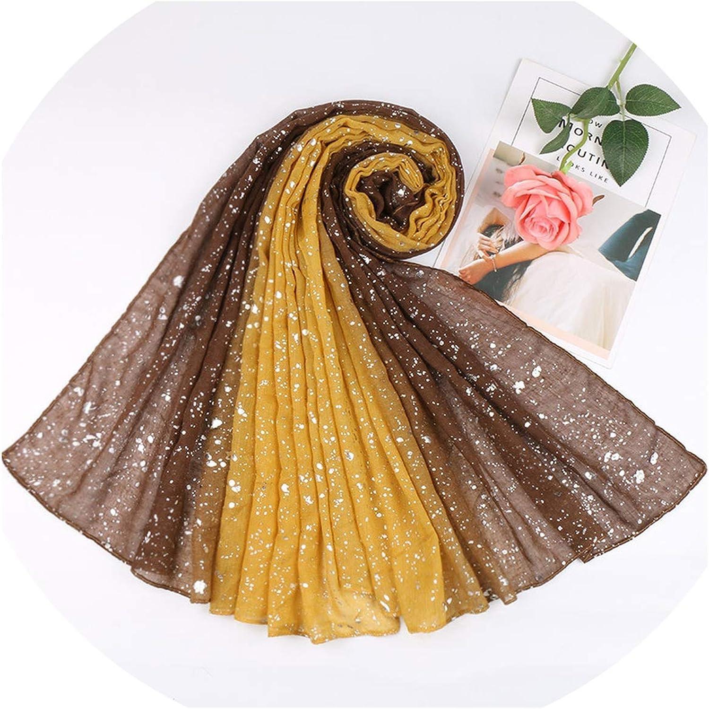 Bufanda de viscosa con purpurina Ombre para otoño, invierno, con lunares, cálida, cachimba, musulmán, hijab sjaal, 180 x 90 cm