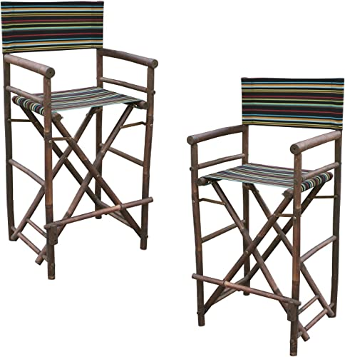 Statra Bamboo Barstool-Espresso Color Black Stripes Canvas Bar Height Folding Chairs Counter Stool Outdoor Indoor Tall Camping Set of 2