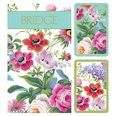 Caspari Edwardian Garden Large Type Bridge Gift Set, 2 Playing Card Decks & 2 Score Pads: Toys & Games