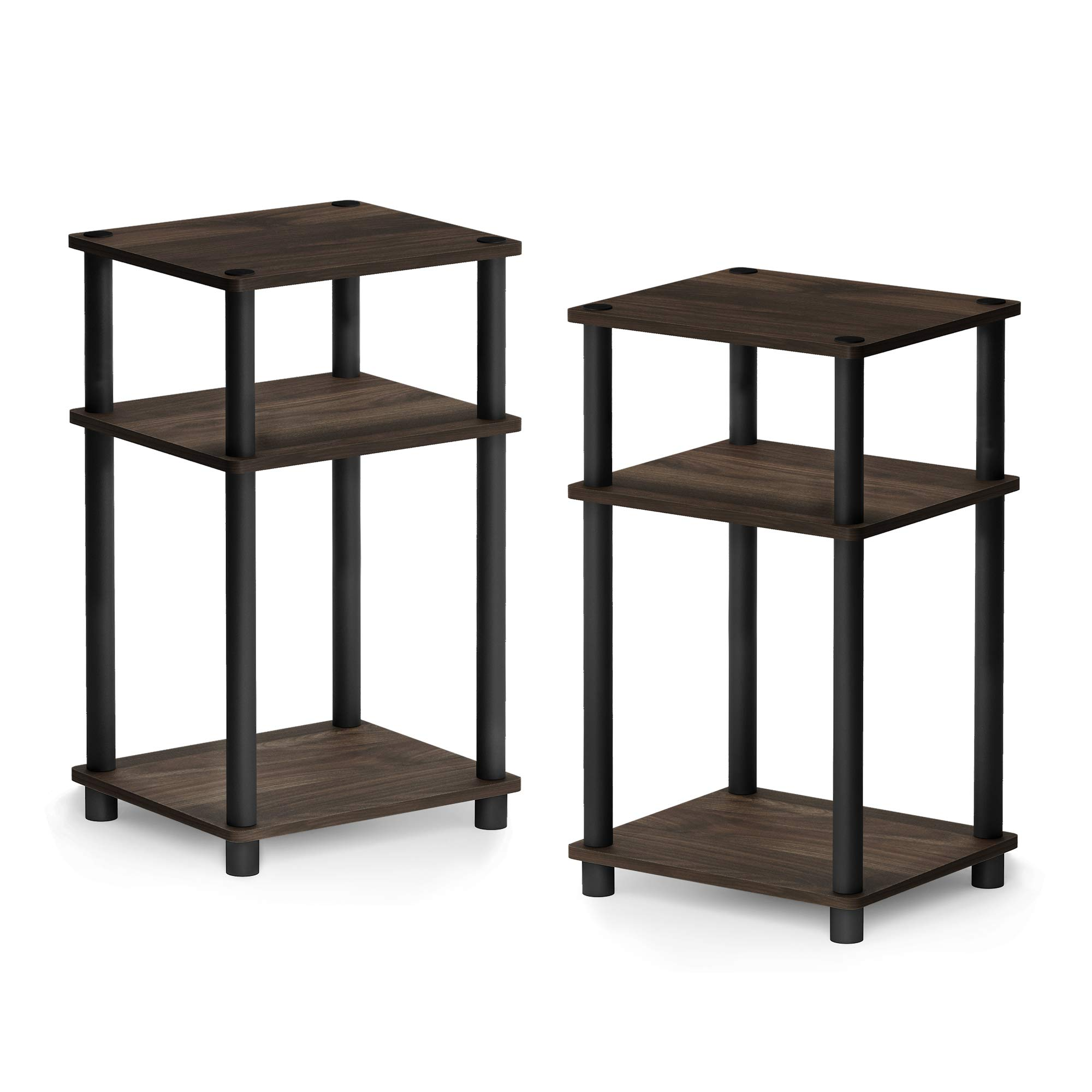 FURINNO Just 3-Tier Turn-N-Tube 2-Pack End Table, Columbia Walnut/Black by Furinno