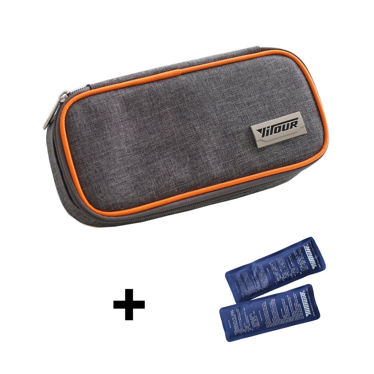 Portable Insulin Cooler Bag Diabetic Care Organizer Travel Medical Pack + 2 Ice Gel Packs (Orange)