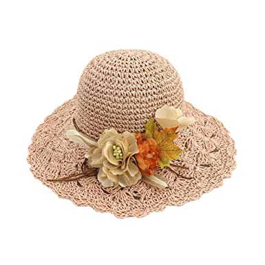 f4eb4023 Image Unavailable. Image not available for. Color: Handmade Flower Straw  Sun Hats for Women Wide Brim Beach Summer Hats Elegant Ladies ...
