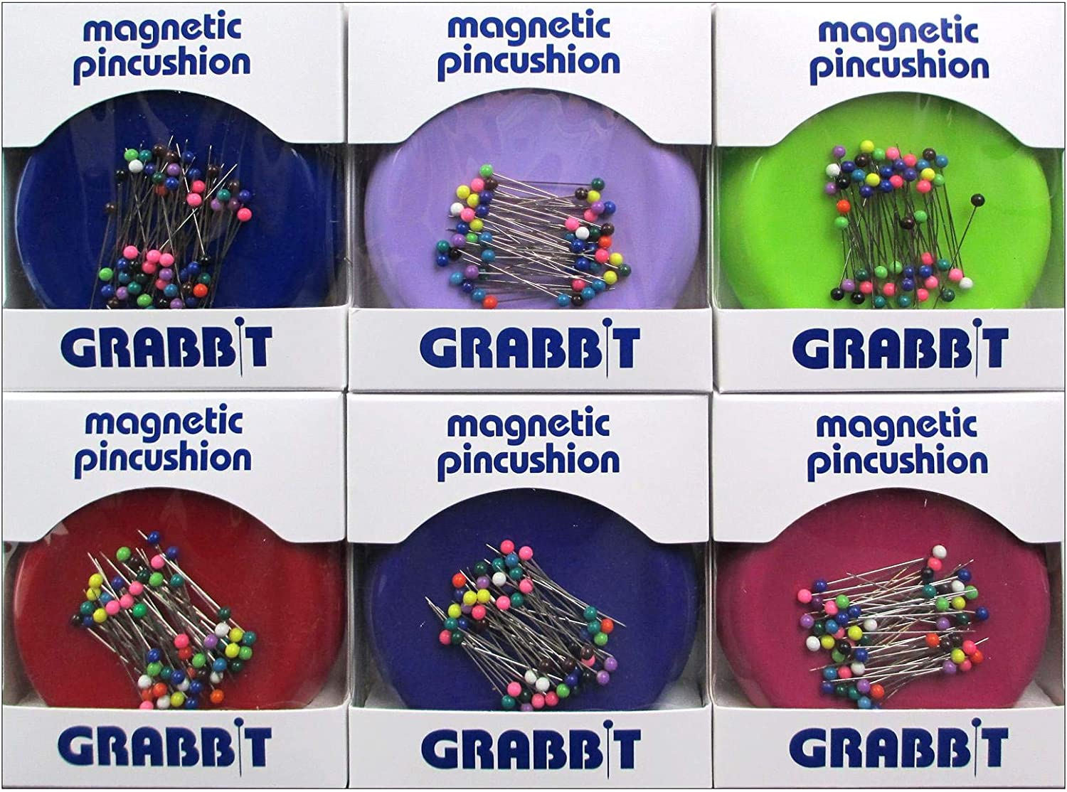 Grabbit Magnetic Sewing Pincushion with 50 Plastic Head Pins - Assorted Colors