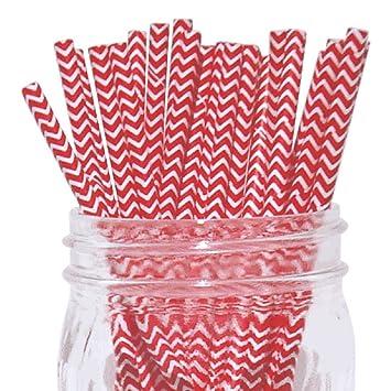 Rojo/Blanco Chevron juego de 100 Count Tamaño 7 3/4 Inch Rojo Chevron diseño papel pajita de incienso palos para Cake Pop moldes ...
