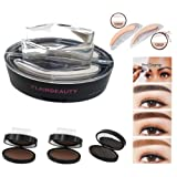 Eyebrow Stamp by FLAIRBEAUTY - Brow Stamp, Waterproof Eyebrow Stamps for Ash Blonde Light Brown Ginger Brow Powder Kit - 2 Sets Brow Stamps Shapes Incl. (Soft Brown)
