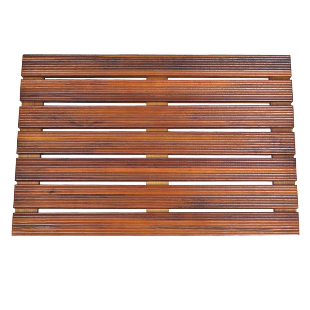 GLS Bathroom Spa Shower or Door Floor Mat in Solid Teak Wood