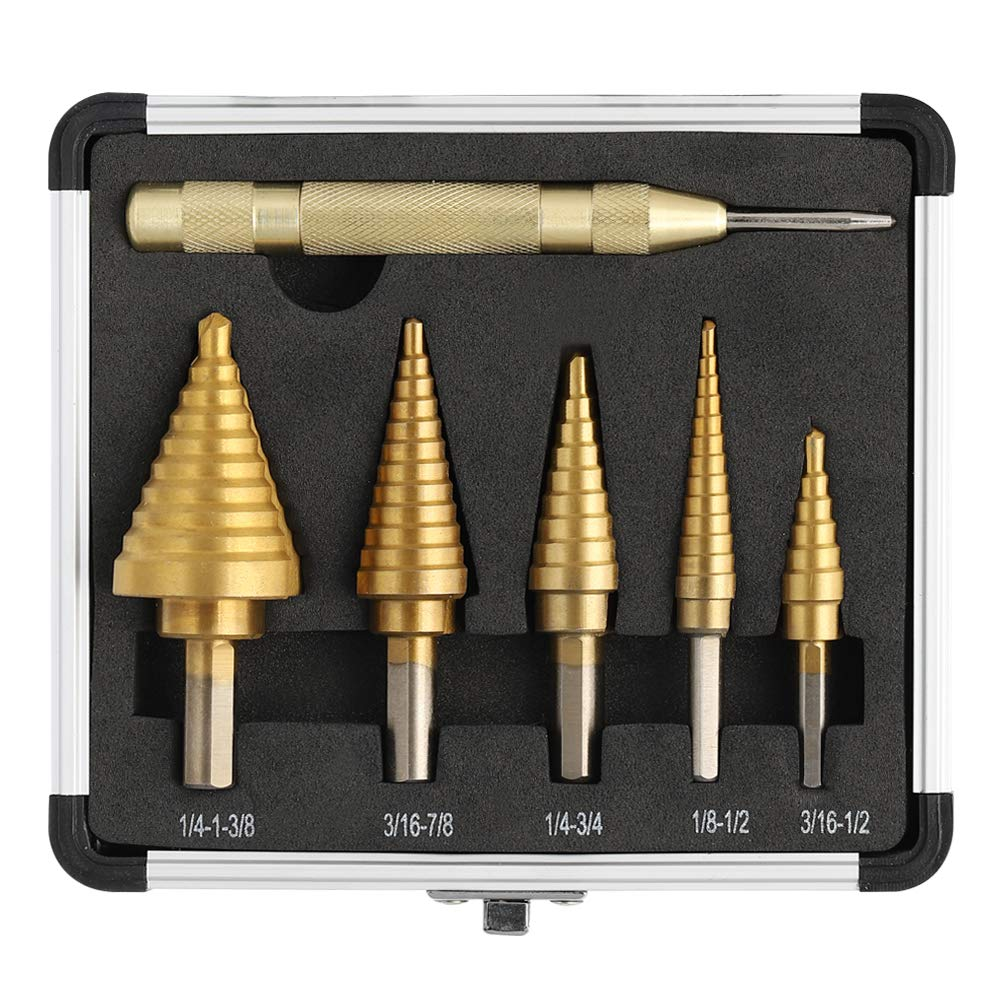 COMOWARE Step Drill Bit Set & Automatic Center Punch- Titanium Coated, Double Cutting Blades, High Speed Steel, Short Length Drill Bits Set of 5 pcs, Total 50 Sizes with Aluminum Case
