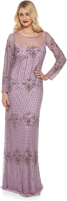 1920s Dresses with Sleeves gatsbylady london Dolores Vintage Inspired Maxi Prom Dress in Lavender £179.00 AT vintagedancer.com
