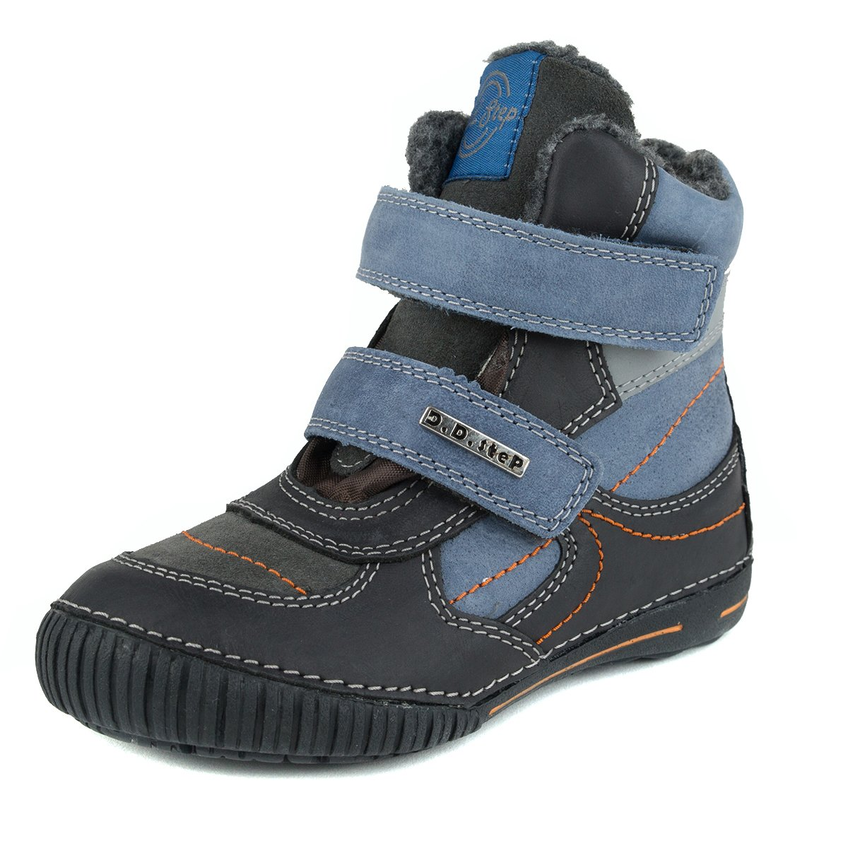 D.D. Step Boys' insulated boots, black and blue, genuine leather (036-30)