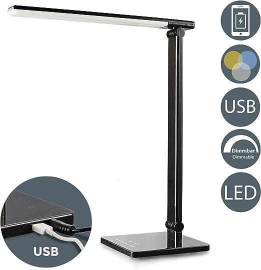 dimmbare LED Schreibtischlampe Tischleuchte schwarz USB-Ladefunktion LED-Display