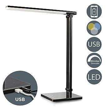 LED Lámpara Escritorio negro de Mesa 5W con USB, 7 Niveles de ...
