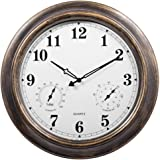 "Heselian Outdoor Wall Clock Waterproof with Temperature and Humidity, Large, 18"" W"