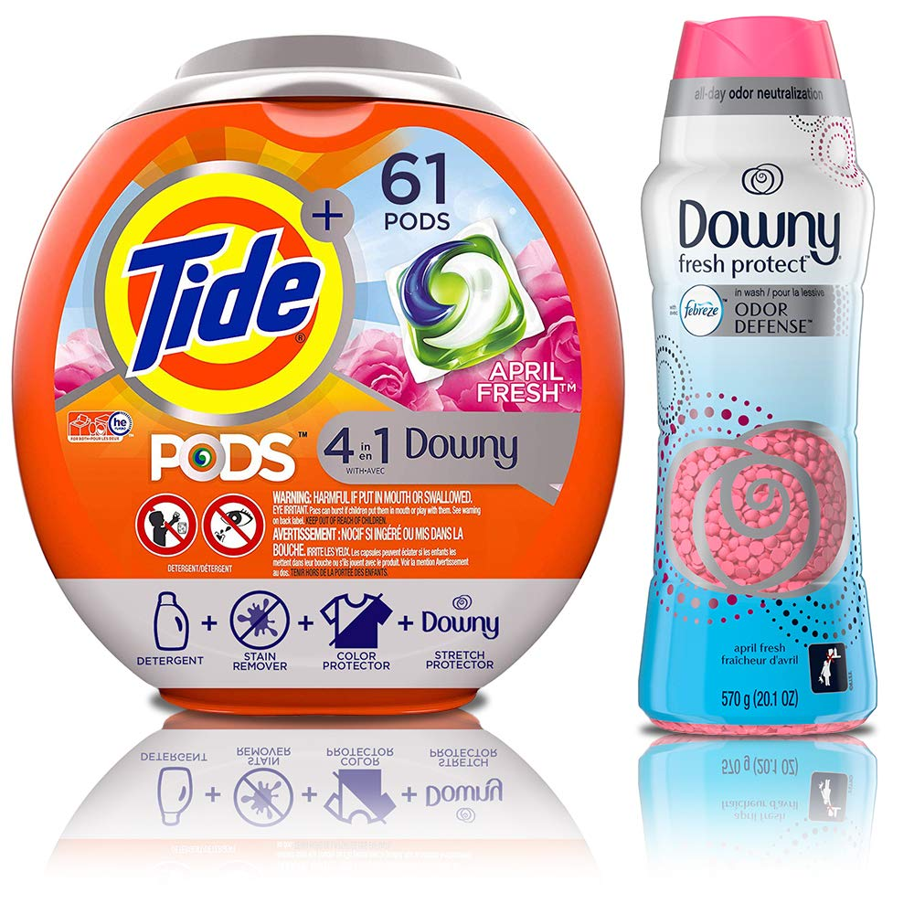 Downy Fresh Protect April Fresh with Febreze Odor Defense in-Wash Scent Beads, 20.1 Ounce with Turbo Laundry Detergent Pacs, April Fresh Scent