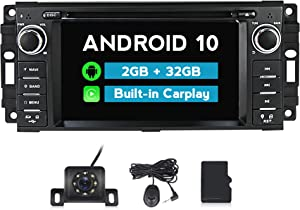 MekedeTech Android 10.0 Car Stereo Radio 6.2 inch Touch Screen for Jeep Wrangler JK Grand Cherokee Compass Chrysler Dodge Ram with Bluetooth GPS Support Apple Carply Andriod Auto Head Unit