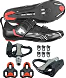 Venzo Bicycle Bike Cycling Triathlon Shoes For Shimano SPD SL Look with Pedals