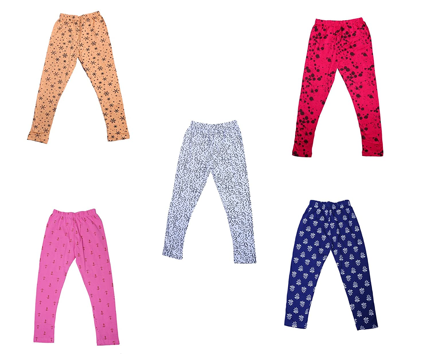 Pack of 5 Indistar Girls Super Soft and Stylish Cotton Printed Churidar Legging Pants