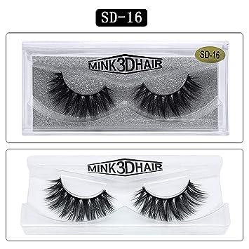 f38854360da Amazon.com : 1 Pair 3D Mink Thick Cross Long Lashes Luxury Handmade Mink  Eyelashes Medium Volume Mink Longlasting Wispy Upper False Eyelashes, ...