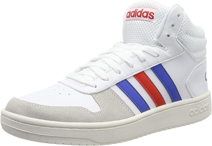 adidas Hoops 2.0 Mid Sneakers Basketball Schuhe Herren Weiß m. blauen und roten Streifen
