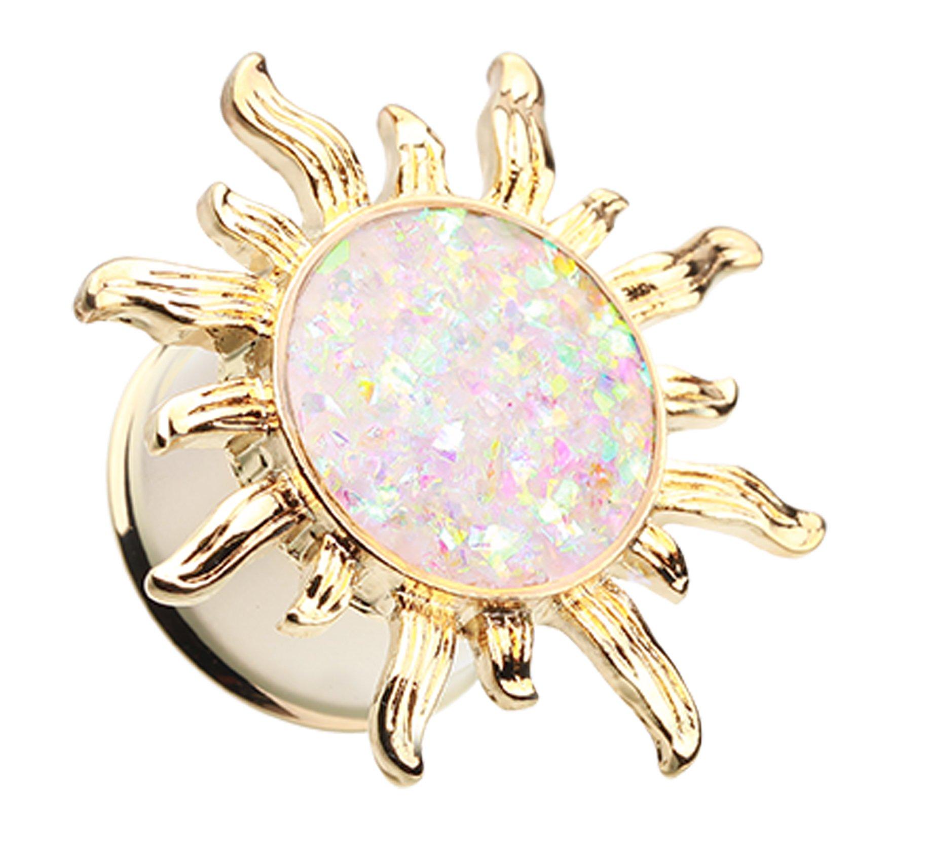 Golden Colored Blazing Sun Opalescent Glitter Ear Gauge Plug - 7/16'' (11mm) - Aurora Borealis - Sold as a Pair