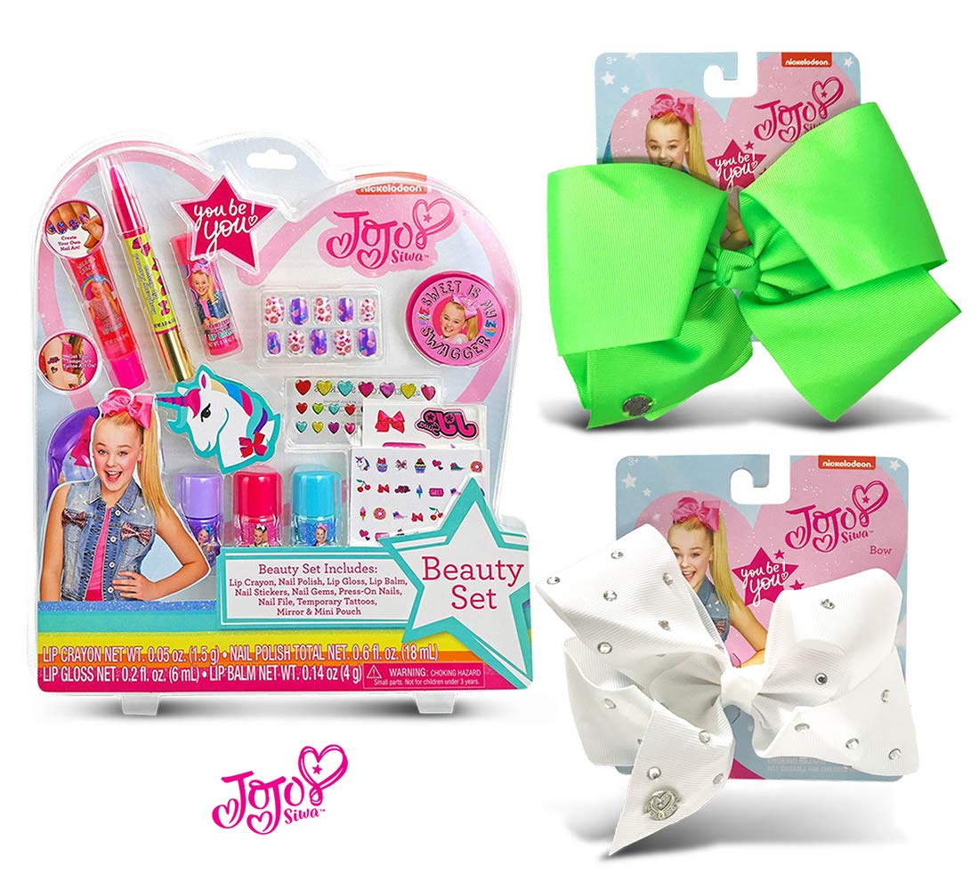 Warp Gadgets Bundle - JoJo Siwa Beauty Cosmetic Set and White Rhinstone and Neon Green Basic Bows on Metal Salon Clip (3 Items) by Warp Gadgets (Image #1)