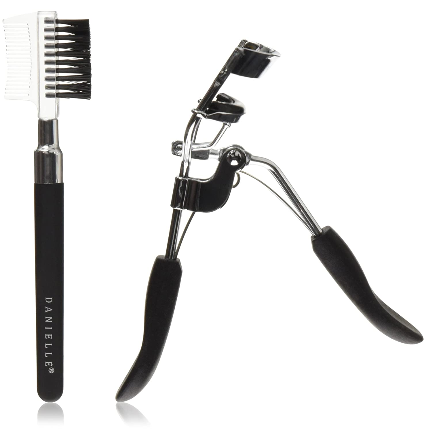 Danielle Creations Soft Touch Stainless Steel Duo Eyelash Curler Brow Brush Set, Black D3530B