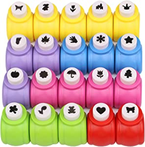 Katfort Paper Punches Set 20 Pack, Mini Crafting Paper Punch Crafts Hole-Punch Shapes Punch Cutter for Scrapbooks Albums Photos Cards and DIY Handcrafts 20 Patterns