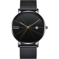 Kitcone Analogue Date & Time Display Shepard Chain Black Dial Super Slim Mens Watch & Boys Watch - BLC