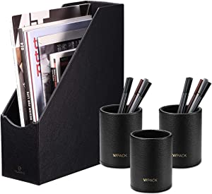 File Folder Storage with 3 Pen Cups, Office Supplies Package Integration Magazine Holder Pencil Case Box, Office Supplies Desk Organizer Accessories (Leather-Black)