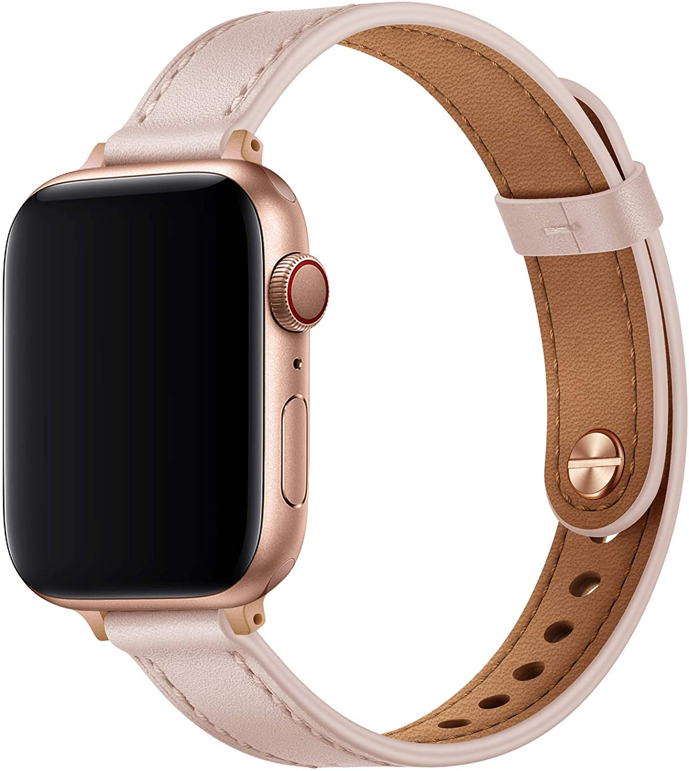 OUHENG Slim Band Compatible with Apple Watch Band 40mm 38mm 44mm 42mm, Women Genuine Leather Band Replacement Thin Strap for iWatch SE Series 6 5 4 3 2 1 (Pink Sand/Rose Gold, 40mm 38mm)