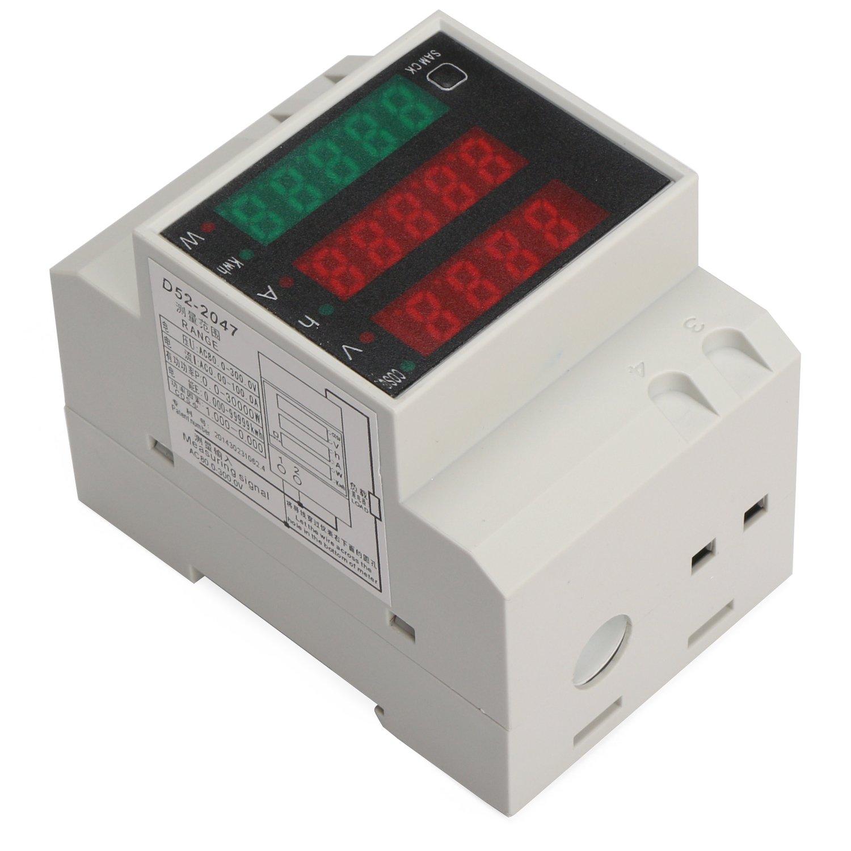 DROK DIN Rail Digital Multimeter AC Voltmeter Ammeter Power Energy KWh Meter Power Factor Accumulation Time Monitor Multifunction Meter by DROK (Image #2)