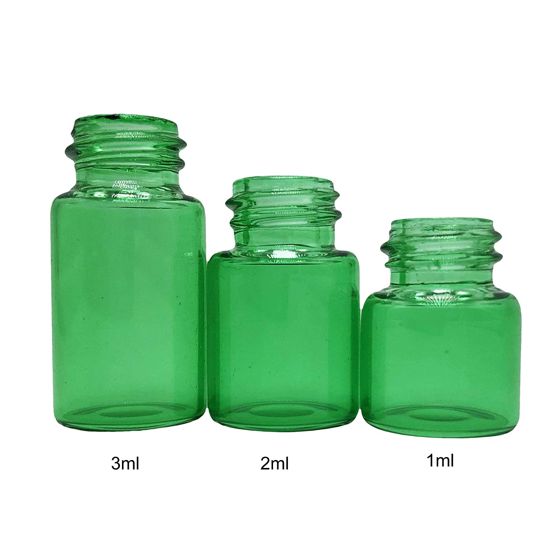 50Pcs 2ml Tiny Small Green Glass Empty Oil Bottle Vial /& Black Screw Cap 16*24mm