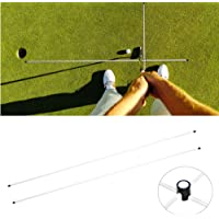 Golf Training Aid, Pair of Professional Alignment Stick Golf Swing Training Aid Grip White 45.3 in