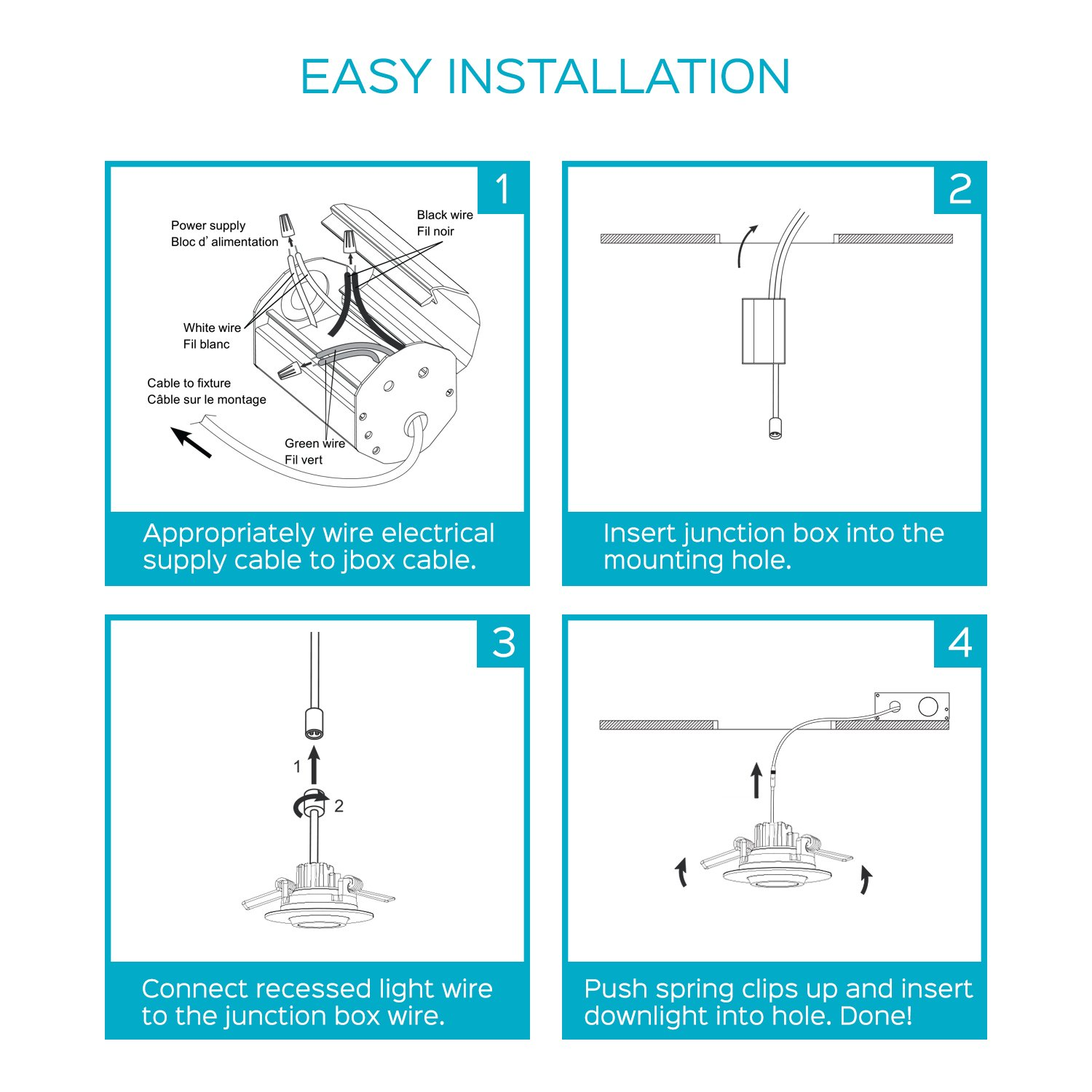 Luxrite 2 Inch Gimbal LED Recessed Light with Junction Box, 5W ...