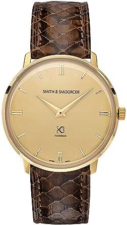 Smith & smoorcer Fisherman Vintage Viper Brown Reloj para Hombre Analógico de Cuarzo Suizo con Brazalete