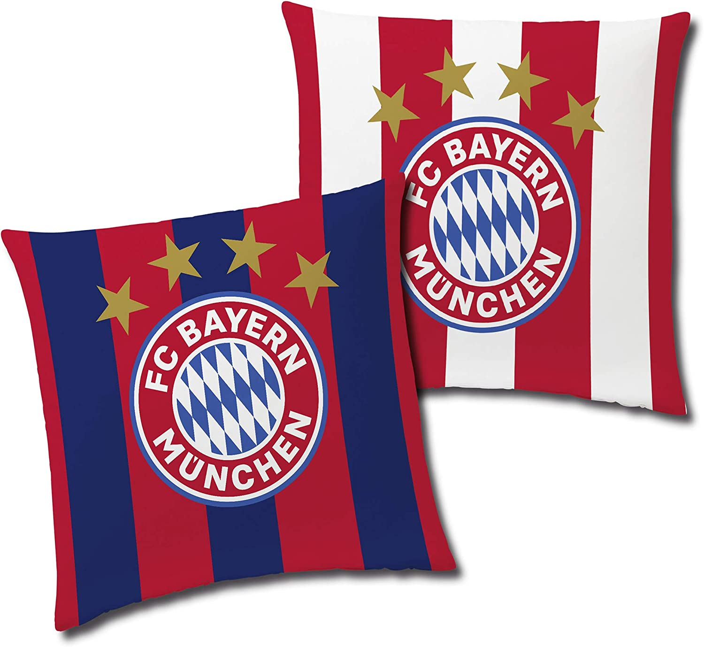 FC Bayern München Cojín reversible (40 x 40 cm), diseño de rayas de fútbol récord, Mia san Mia FCB Champions League Bundesliga Allianz Arena